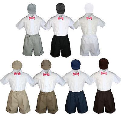 4pc Baby Boys Toddler Formal Coral Vest Bow tie Navy Khaki Shorts Set Sm-4T