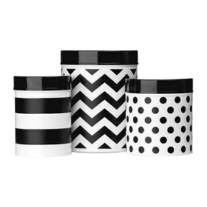 Black White Domino Set Of 3 Storage Jars Containers Kitchen Storage Canisters Ebay