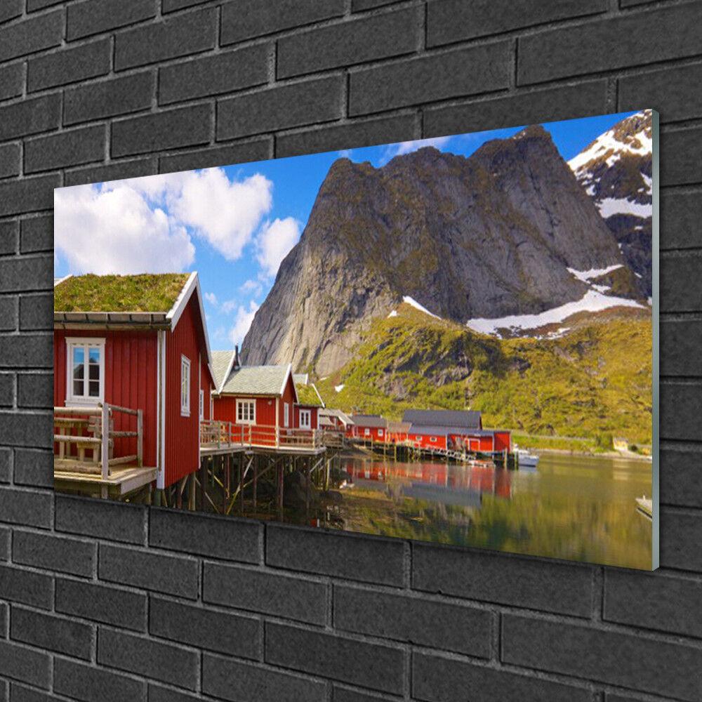 Image sur verre acrylique Tableau Impression 100x50 Paysage Maisons Lac Montagne