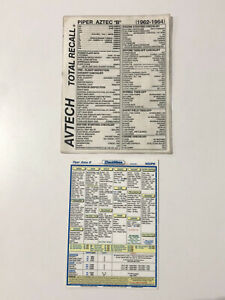 "Laminated PA23 Aztec B Checklists, Checkmate 7"" x 9 3/4"", Avetech 8 1/2"" X 11"""