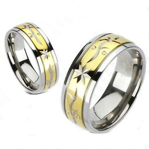 Mens Two Tone Titanium Traditional Wedding Engagement Ring Band Bridal Size 9 13