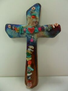 Raku-Pottery-Hanging-Wall-Cross-5in-By-Artist-Jeremy-Diller