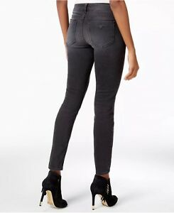 Guess Women's Moto Zip Skinny Jeans Washed Black Size 24