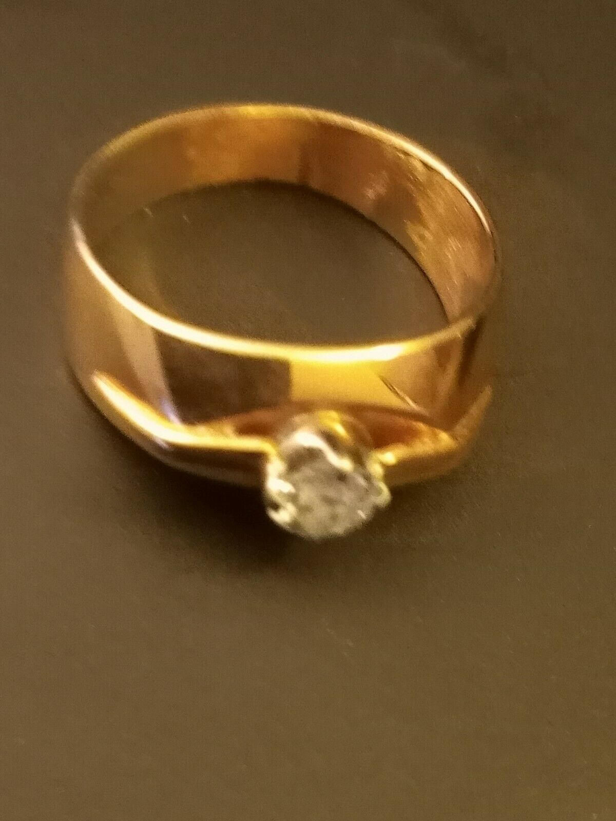 14k Rose Gold Diamond Solitaire Band Ring  - image 4