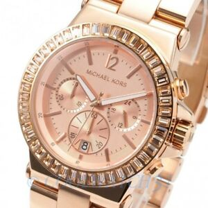 Image is loading Michael-Kors-MK5412-Rose-Gold-Dylan-Baguette-Crystal- f76dca47e0