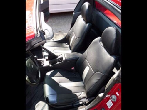 HONDA DEL SOL 1993-1997 BLACK//GREY S.LEATHER CUSTOM FIT FRONT SEAT COVERS