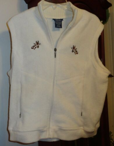 L Ladies Womens Catalina Fleece Vest Cream Embroid