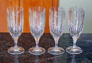 """4 Mikasa Uptown Crystal Iced Tea or Water Glasses Stems Goblets - 8.5"""" tall - EC"""