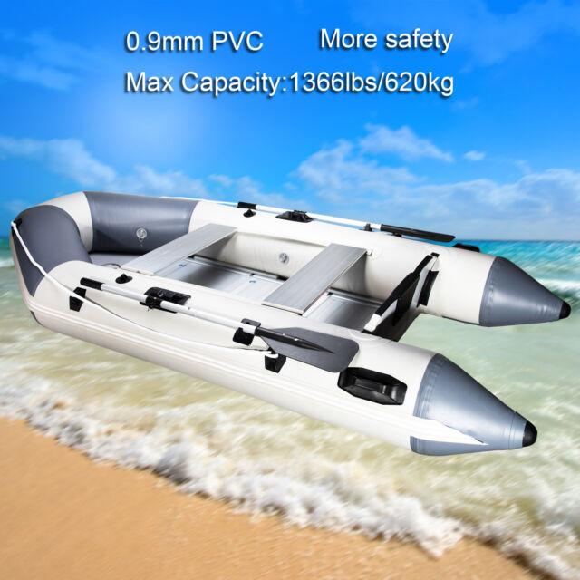 10 8Ft 0 9mm PVC Inflatable Fishing Boat Tender Raft with Aluminum Floor