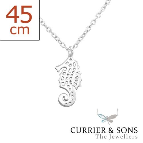 925 Sterling Silver Seahorse Pendant Necklace 45cm // 18 inch
