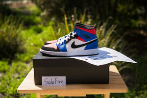 premium selection b9b71 f1f3a Details about Nike Air Jordan 1 Mid Top 3 Blue Red White Black Royal I  Banned Toe Hyper Retro