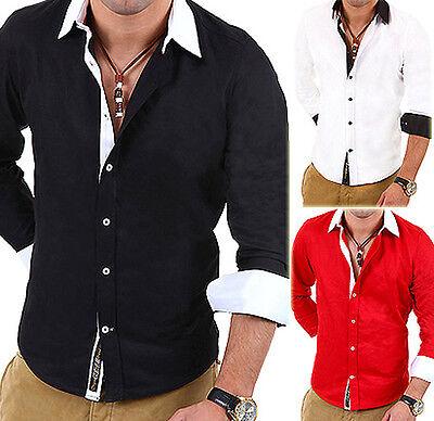 CARISMA Hemd Slim Fit Kontrast Polo Shirt Clubwear Schwarz/Weiß/Rot NEU