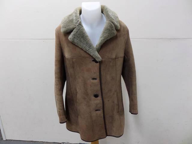Sirela Leather Sheepskin Shearling Coat Beige Women Size