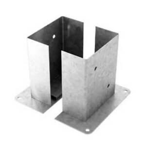 Pied de poteau fixes doubles galvanisè pour potreau section rectangulaire