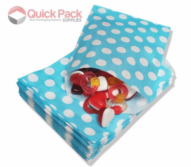 Aqua - Polka Dot Spots Spotted Sweet Paper Candy Bags Sweets Party Blue Favour