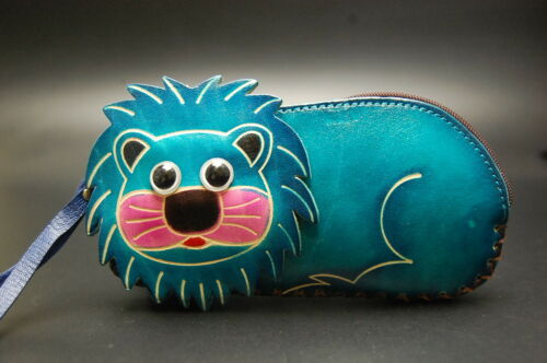 Genuine Leather Small Zipped Coin Purse Change Wallet Card Holder Lion