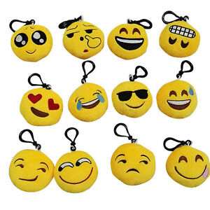 Emoji Smile Stuffed Plush Toy Key Chain Emoticon Yellow Soft Cushions KeyringsJ