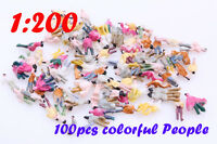 1 Set of 100 Painted People Figures Model Z Scale Train 1:200 For Building Layou