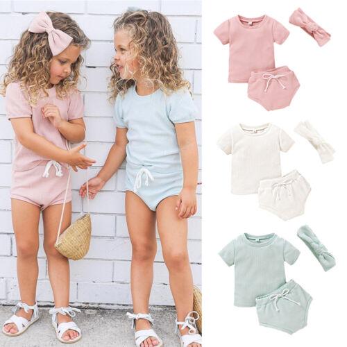 3PCS Summer Toddler Newborn Baby Girl Tops T Shirt Shorts Pants Outfit Clothes