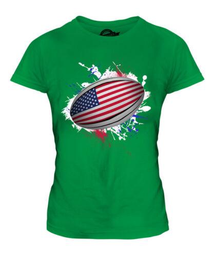 USA RUGBY BALL SPLATTER LADIES T-SHIRT TEE TOP GIFT WORLD CUP SPORT