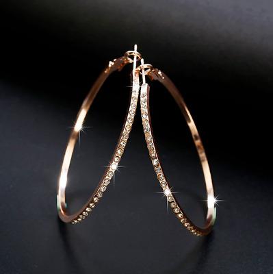Pave Zirconia Hoop Earrings Hoops Rhinestone Large Rose Gold Silver Sparkling Ebay