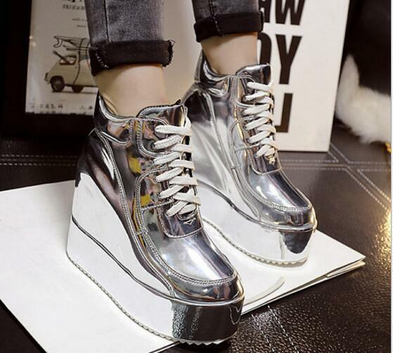 Women's Platform Wedge Hidden Heel Creeper shoes Casual Lace up Glitter High Top