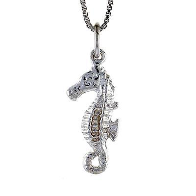"""925 Sterling Silver Oxidised Seahorse Pendant with 18/"""" Silver Box chain"""