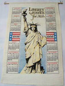 1986-Linen-Calendar-Kitchen-Tea-Towel-Statue-of-Liberty-Centennial-Vintage