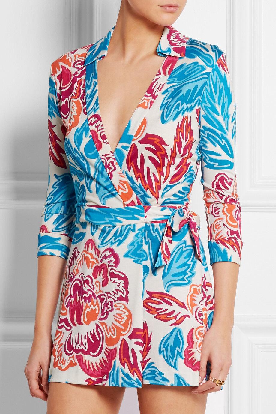 Diane Von Furstenberg Celeste Wrap Romper Giant Floral Multi Size 10