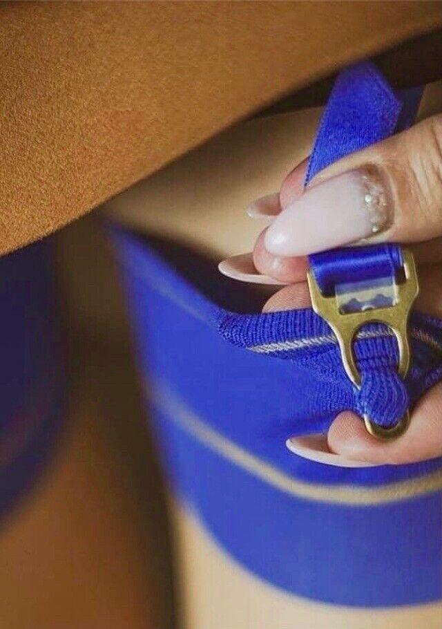 Nylon Strümpfe Echte 15den RHT Nylons Cervin Bicolore Gr.6 XL 96cm Melon / Blau