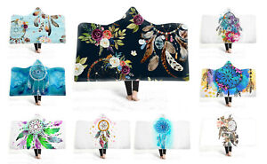 Watercolor-Dream-Catcher-Feathers-Flower-Adult-Kids-Fleece-Hooded-Blanket-Throw