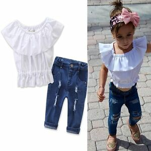 e375ff6d3a3 2PCS Toddler Kids Baby Girls Off Shoulder Tops + Jeans Pants Outfits ...