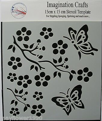 "Imagination Crafts STENCIL  template 6"" x 6"" (15cm ) BUTTERFLY BLOSSOM DUO"