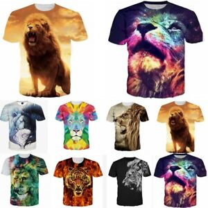 22df8c17 Details about Lion Tiger 3D Print Mens Women Casual Short Sleeve Crew T  Shirt Graphic Tee Tops