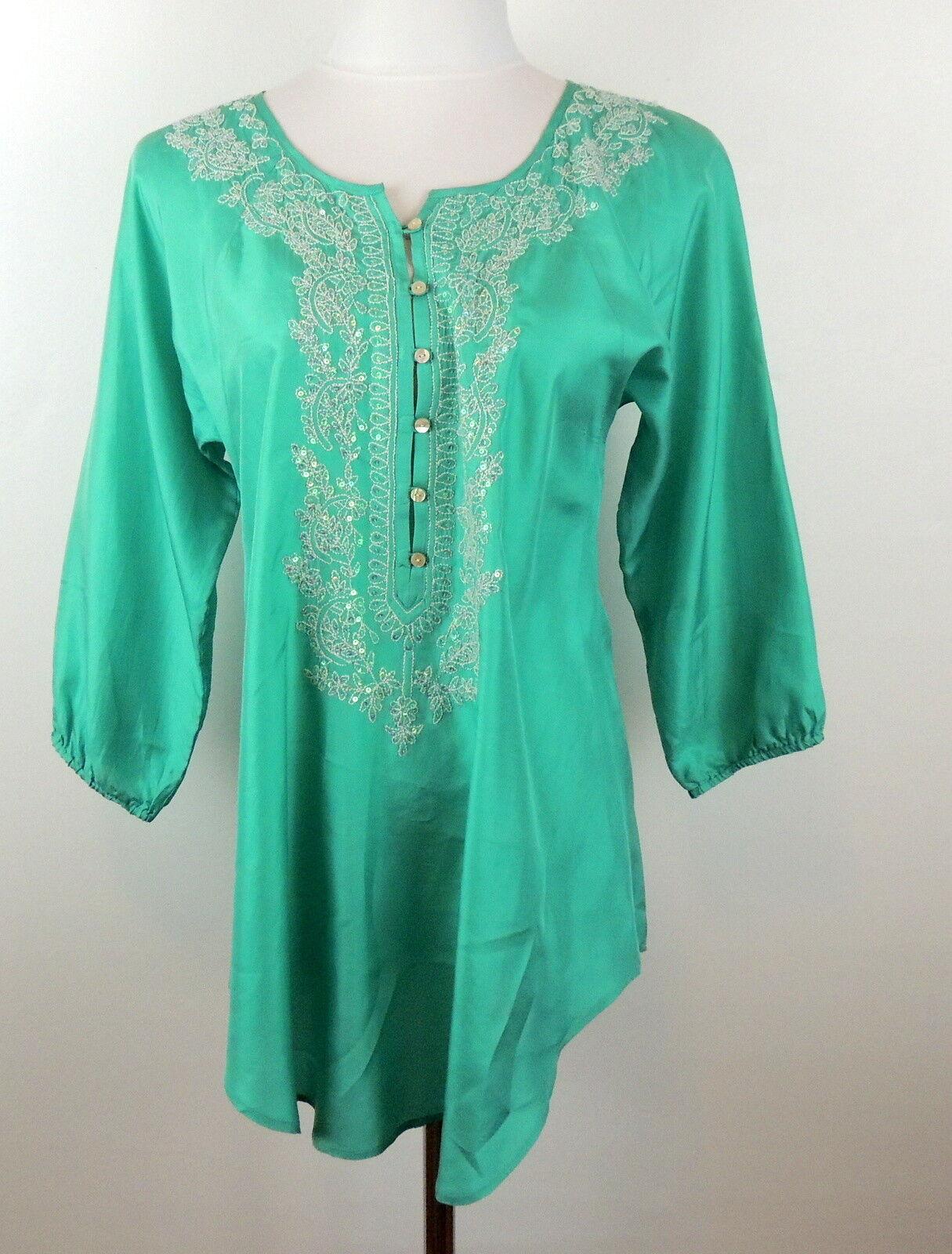 Calypso St. Barth 0 Romantic Silk Tunic Blouse Aqua & Sequin Sparkle Detail Top