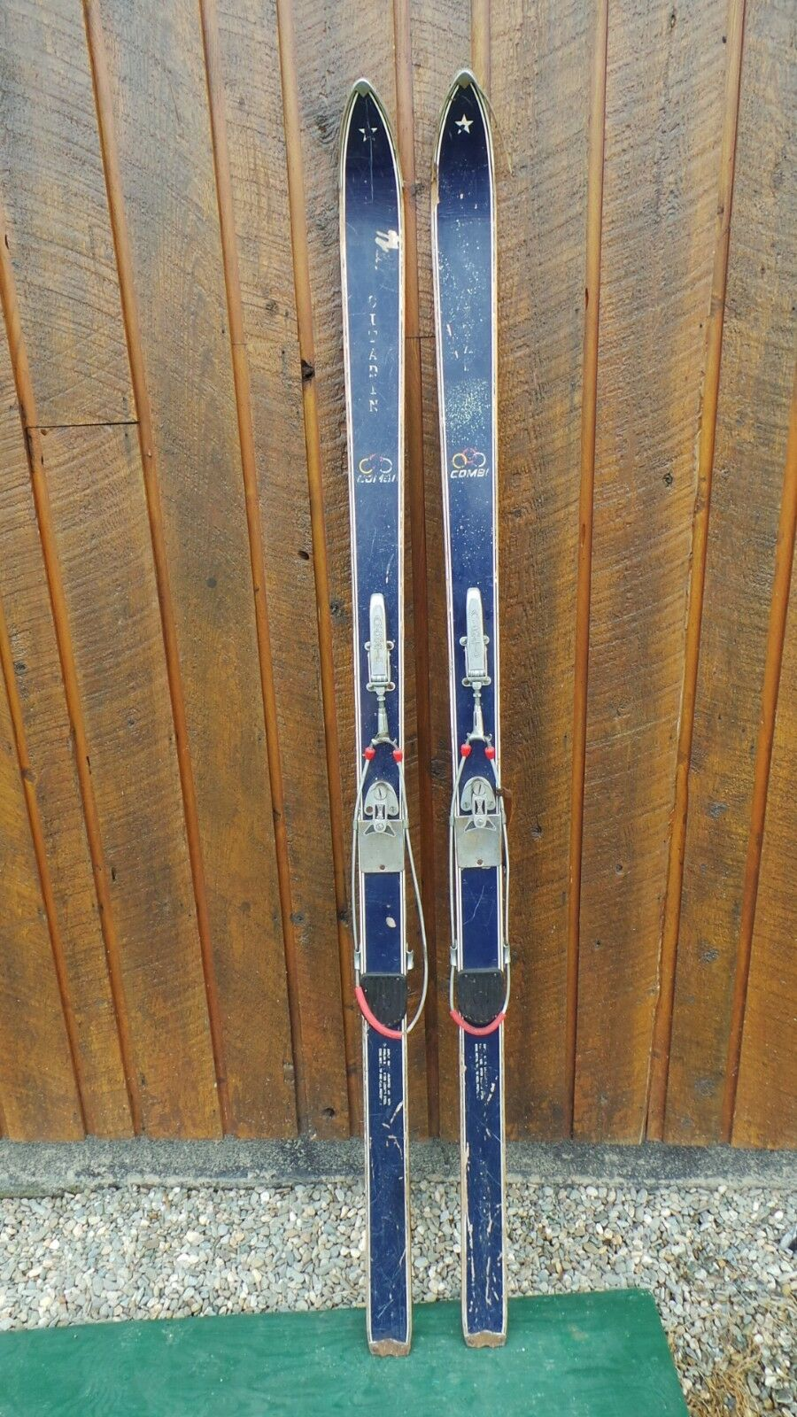 VINTAGE Wooden 70  Skis Original blueE Finish + Metal Cable Bindings