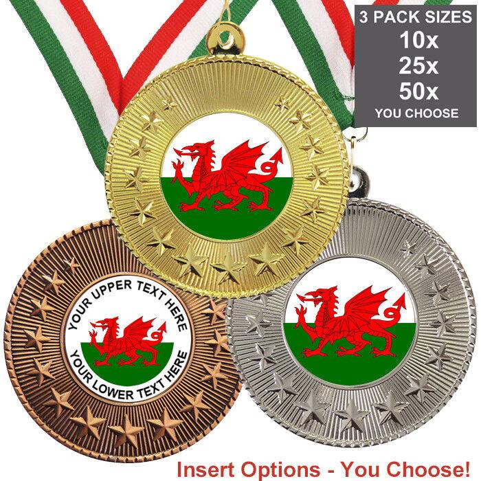 Galles Gallese medaglie in metallo 50 mm, confezione da 10, nastri, inserti o proprio logo e testo
