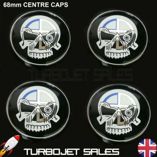 Universal Fits BMW E46 E90 E90 E60 E61 E34 X3 Z4 68mm Evil Skull Centre Caps