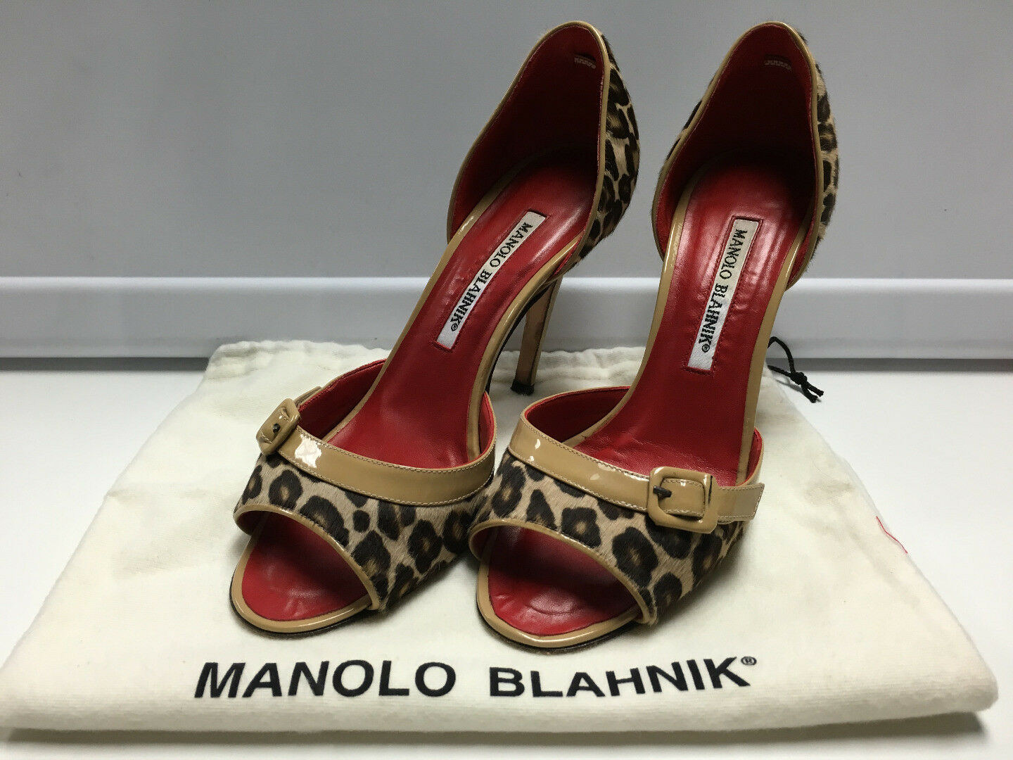 MANOLO BLAHNIK marron rouge Leopard Print Buckle Detail Open Toe Heels Sz 36 B3146