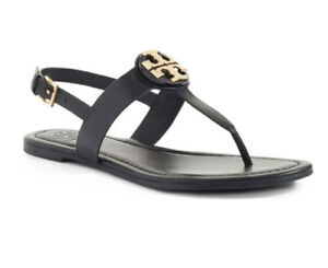 6ca114c82653 Image is loading Tory-Burch-BRYCE-Leather-Flats-Thong-Sandals-Black-