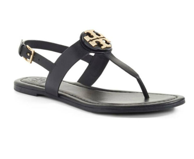 7fd172bfc577 Tory Burch Bryce Flat Thong Sandal Veg Leather Size 7.5 Black 43066 ...