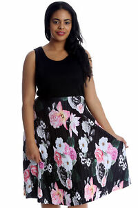 ac1633f2703ef New Womens Dress Plus Size Ladies Floral Print Skater Style Long ...