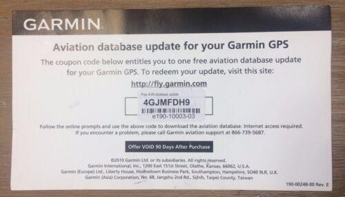 Garmin Jeppesen GPS Aviation Databases Update Certificate