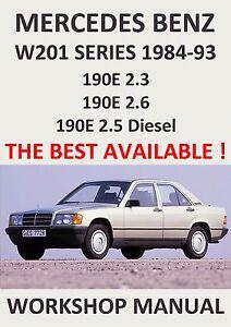mercedes benz workshop manual w201 1984 1993 ebay rh ebay com 1993 mercedes benz 190e owners manual 1993 mercedes 190e service manual