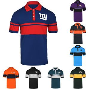 NFL Football Mens Cotton Stripe Logo Polo Shirt - Pick Team