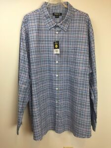 Claiborne-Stretch-Men-039-s-Shirt-4-XLT-Long-Sleeves-Blue-Plaid-New-With-Tags