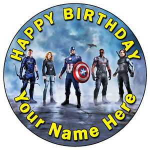 CAPTAIN AMERICA CIVIL WAR TEAM CAP 75 PERSONALISED EDIBLE ICING
