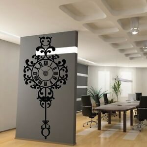 sticker mural horloge g ante suspendue baroque avec m canisme aiguilles ebay. Black Bedroom Furniture Sets. Home Design Ideas