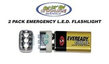 9 Volt LED Emergency Flashlight PACK OF 2 Cordless Tiny Small Flash Light Camper