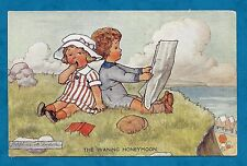 C1910'S PC THE WANING HONEYMOON by JOSEPHINE M. DUDDLE YOUNG COUPLE ON CLIFFTOP
